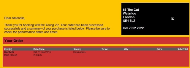 Macbeth ticket 23 Jan
