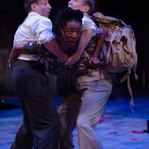 Chris Nayak-Demetrius Mercy Ojelade-Hermia Jack Holden-Lysander. Photo by Topher McGrillis